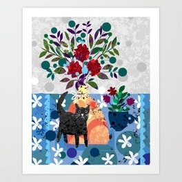 Still Life with Lively Kitty Art Print
