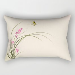 Oriental style painting - orchid flowers and butterfly 004 Rectangular Pillow
