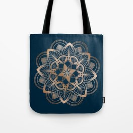 Lotus metal mandala on blue Tote Bag