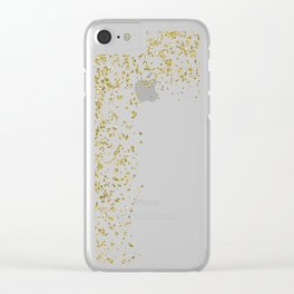 Sparkling gold glitter confetti on simple white background - Pattern Clear iPhone Case