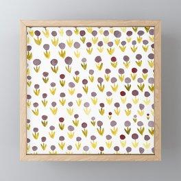 Dot flowers - olive, grey and garnet Framed Mini Art Print