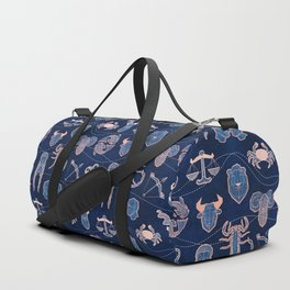 Geometric astrology zodiac signs // navy blue and coral Duffle Bag