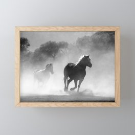 Horse Herd Dust Framed Mini Art Print
