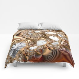 Silver leaves on golden glow -- A fractal landscape Comforters