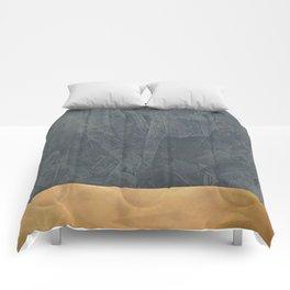 Slate Gray Stucco w Shiny Copper Metallic Trim - Faux Finishes - Rustic Glam Comforters