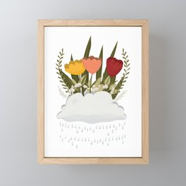 Let It Rain, Rain Cloud Flower Bed Framed Mini Art Print