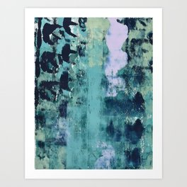 012: a bright contemporary abstract piece in teal and lavender by Alyssa Hamilton Art  Art Print