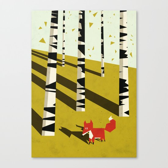 fox in birchland Canvas Print