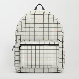 Minimalist Black and Off-White Grid with Color Accents Backpack