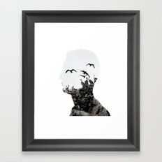 Head with Islas Ballestas birds Framed Art Print