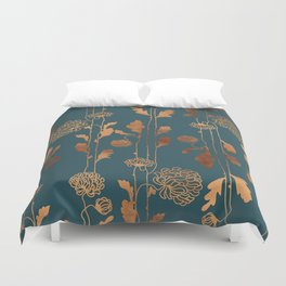 Art Deco Copper Flowers Duvet Cover