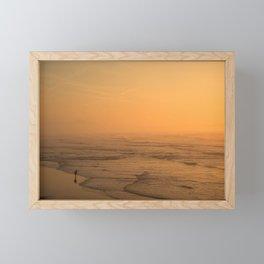 Sunset in the beach of Biarritz Framed Mini Art Print