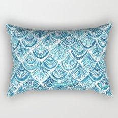 NAVY LIKE A MERMAID Fish Scales Watercolor Rectangular Pillow