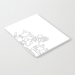 Small Wildflowers Minimalist Line Art Notebook