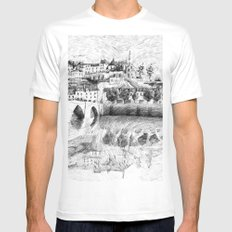 Terrasson village - Black ink Mens Fitted Tee White MEDIUM