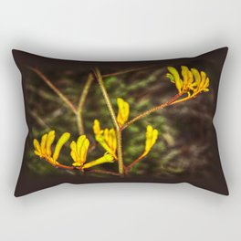 Yellow Kangaroo Paw flower against a blurred background Rectangular Pillow