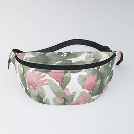 Watercolor pink gable green abstract cactus floral Fanny Pack