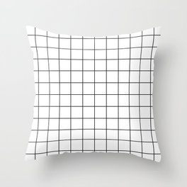 Grid Simple Line White Minimalist Throw Pillow