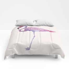 """Watercolor Painting of Picture """"Flamingo"""" Comforters"""