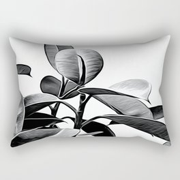 Black and White Leaves Rectangular Pillow