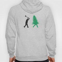 Funny Cartoon Christmas tree is chased by Lumberjack / Run Forrest, Run! Hoody