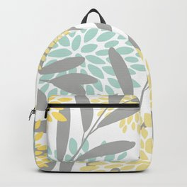 Floral Prints, Leaves and Blooms, Gray, Yellow and Aqua Backpack
