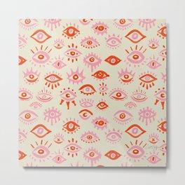 Mystic Eyes – Pink & Red Metal Print