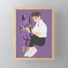 Shinji & Unit-01 Framed Mini Art Print