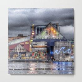 Baltimore Inner Harbor National Aquarium Skyline At Night Metal Print