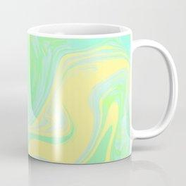 Lime Green Marble. Digital Suminagashi Liquid Color Abstraction Coffee Mug