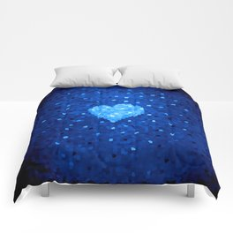 Winter Blue Crystallized Abstract Heart Comforters