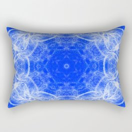 Fractal lace mandala in blue and white Rectangular Pillow