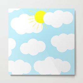 Partly Sunny With Clouds Naive Minimalism  Metal Print