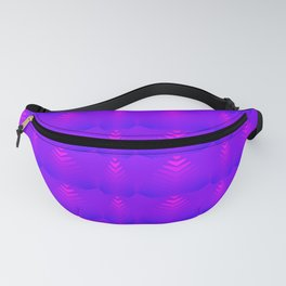 Mother of pearl pattern of purple hearts and stripes on a blueberry background. Fanny Pack