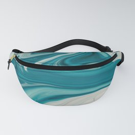 Blue White Abstract Marble Fanny Pack