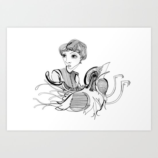 Woman On Bird Art Print