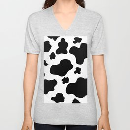 Cow Print Pattern / White / Black Unisex V-Neck