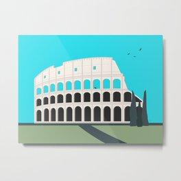 Rome, Italy Colosseum Landscape / Roma Il Colosseo, Italia Metal Print