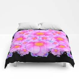 Black Art Design With Pink Roses Comforters