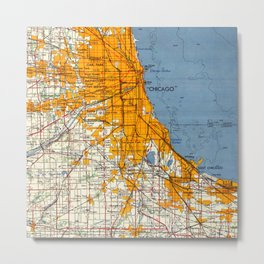 Chicago Colorful Map year 1957 Metal Print