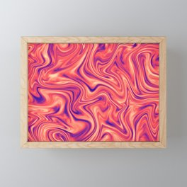 Abstract Colorful Marble Pattern Bright Living Coral, Neon Ultra Violet Framed Mini Art Print