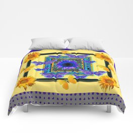 PURPLE BUTTERFLIES SUNFLOWERS MODERN ART Comforters