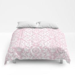 Vintage blush pink white grunge floral damask Comforters