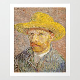 Vincent van Gogh - Self-Portrait with a Straw Hat - The Potato Peeler Art Print