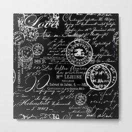 White Vintage Handwriting on Black Metal Print