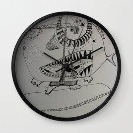 Surf´s up! Sharksurfing Wall Clock