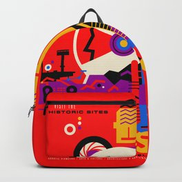 NASA Mars The Red Planet Retro Poster Futuristic Best Quality Backpack