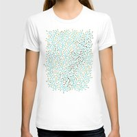 gold T-shirts featuring Berry Branches – Turquoise & Gold by Cat Coquillette