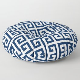 Dark Navy Blue and White Greek Key Pattern Floor Pillow
