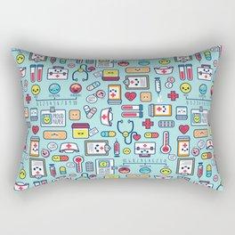 Proud To Be a Nurse Pattern / Blue Rectangular Pillow